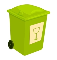 Green trashcan icon cartoon style vector