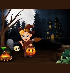 happy little witch holding pumpkin basket in the n vector image