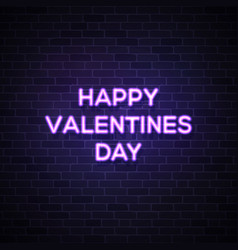 happy valentines day text street neon sign vector image