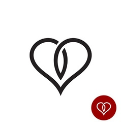 Heart outline logo Simple cross black wire style vector image