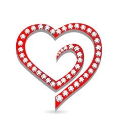 Heart with diamonds logo vector image