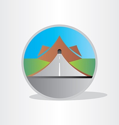 Highway tunnel in mountain design vector