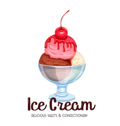 Ice cream balls in a glass bowl vector