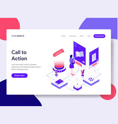 landing page template of call to action concept vector image