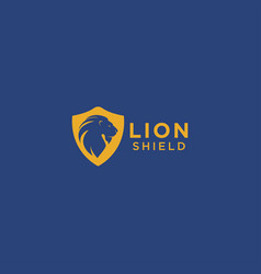 lion and shield logo design template vector image