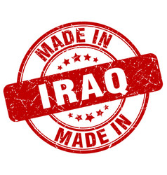 made in iraq red grunge round stamp vector image
