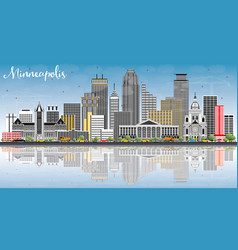 Minneapolis minnesota usa skyline with color vector