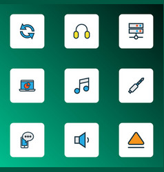 multimedia icons colored line set with eject vector image