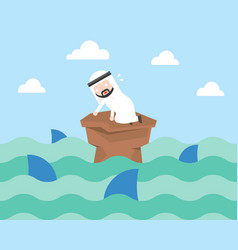 nervouse arab businessman surrounded by shark vector image