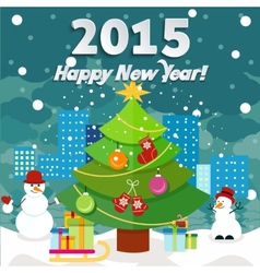 new year greeting card with christmas tree snowman vector image