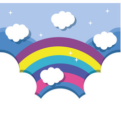 Nice lanscape with rainbow and clouds design vector
