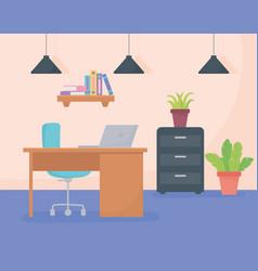 office workplace desk chair laptop cabinet shelf vector image