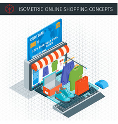 Online shopping isometric icons vector