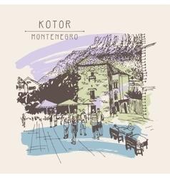 Original sepia sketch drawing of kotor street - vector