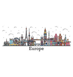 outline famous landmarks in europe business vector image