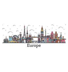 Outline famous landmarks in europe business vector