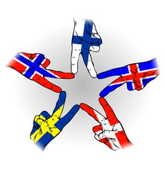 Peace Sign of Scandinavian flags vector