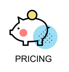 piggy bank icon for pricing vector image