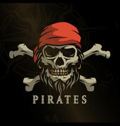 pirate skull in vintage style skeleton head vector image