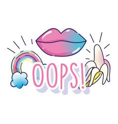 Pop art cartoon mouth lips rainbow and banana vector