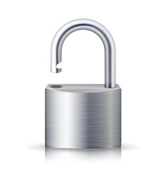 Realistic unlocked padlock metal lock for vector