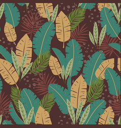 repeating seamless pattern with tropical leaves vector image