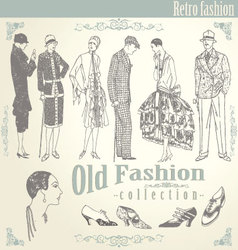 retro fashion set vector image
