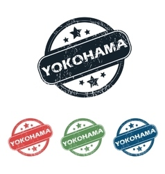 Round Yokohama city stamp set vector