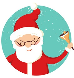 Santa Claus portrait with christmas bell vector image