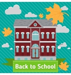 School building in front of blue sky with autumn vector image