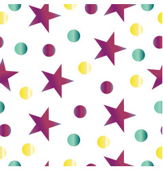 Seamless pattern with purple stars and polka dots vector