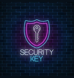 security key glowing neon sign on dark brick wall vector image