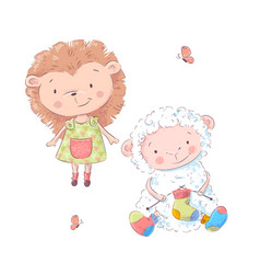 set cute cartoon hedgehog and sheep vector image