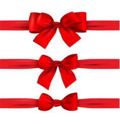 Set of red bows with horizontal ribbons isolated vector