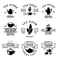 set of tea house labels design element for logo vector image
