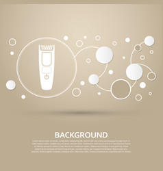 Shaver hairclipper icon on a brown background vector