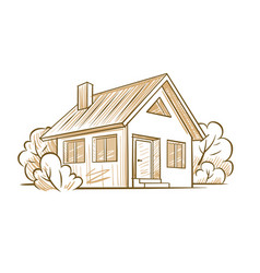 Sketch of a private house vector