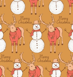 Sketch snowman and rain deer in vintage style vector image