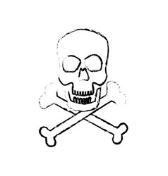 Skull crossed bones danger poison symbol medical vector