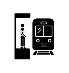 subway black glyph icon vector image
