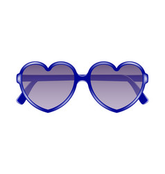 Sun glasses in shape of heart in blue design vector