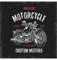 T-shirt print with hand drawn motorcycle vector image