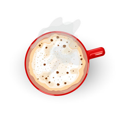 Tasty hot coffee with foam and smoke spreading vector