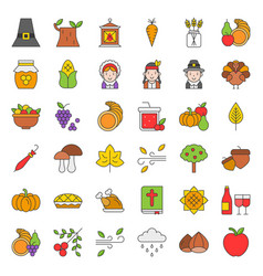 Thanksgiving and autumn related icon big set vector