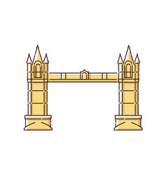 tower bridge flat icon - historic architecture vector image
