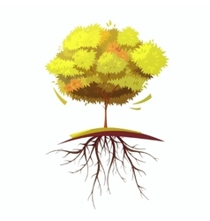 Tree With Root Retro Cartoon vector image
