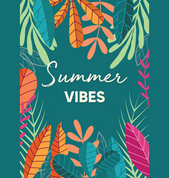 tropical plant poster design with summer vibes vector image