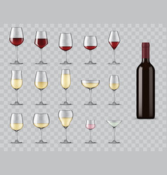 types wine glasses isolated 3d icons set vector image