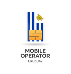 Uruguay mobile operator sim card with flag vector