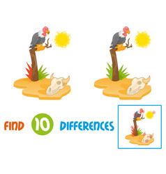 vulture find 10 differences vector image